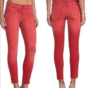 Current Elliott red bandana skinny crop jeans 28